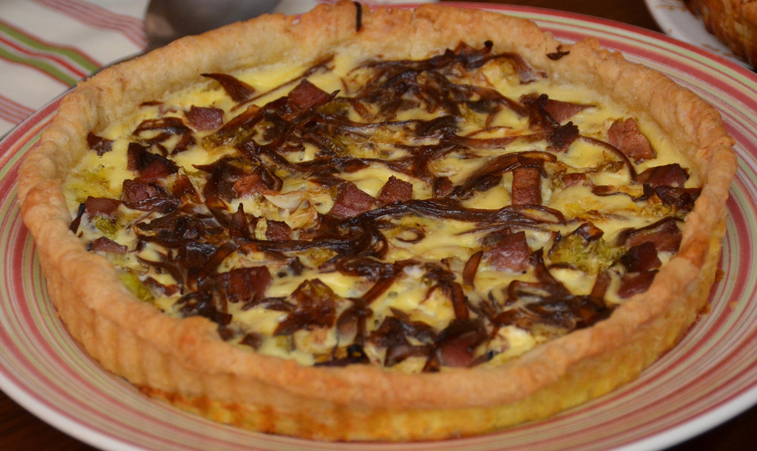 caramelized shallot, cabbage and tasso tart