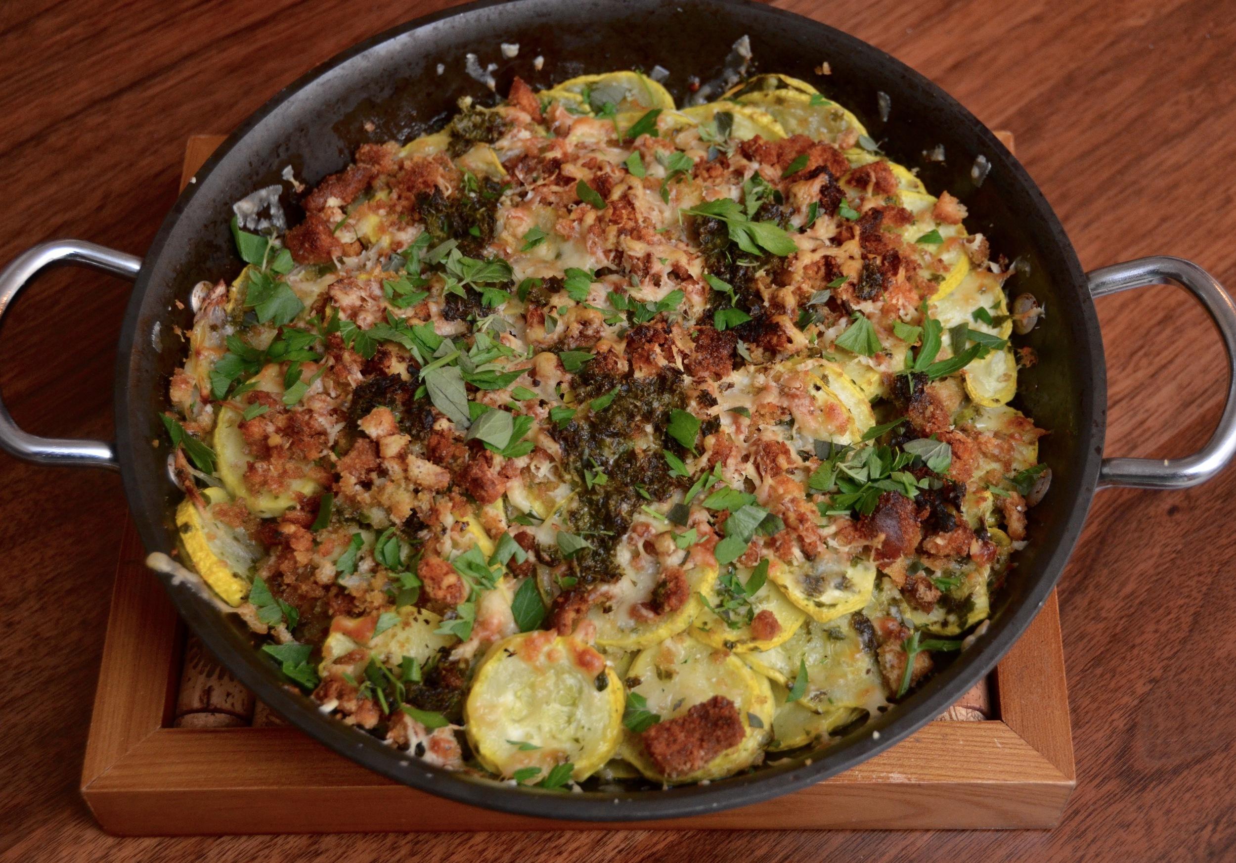 summer squash gratin with salsa verde