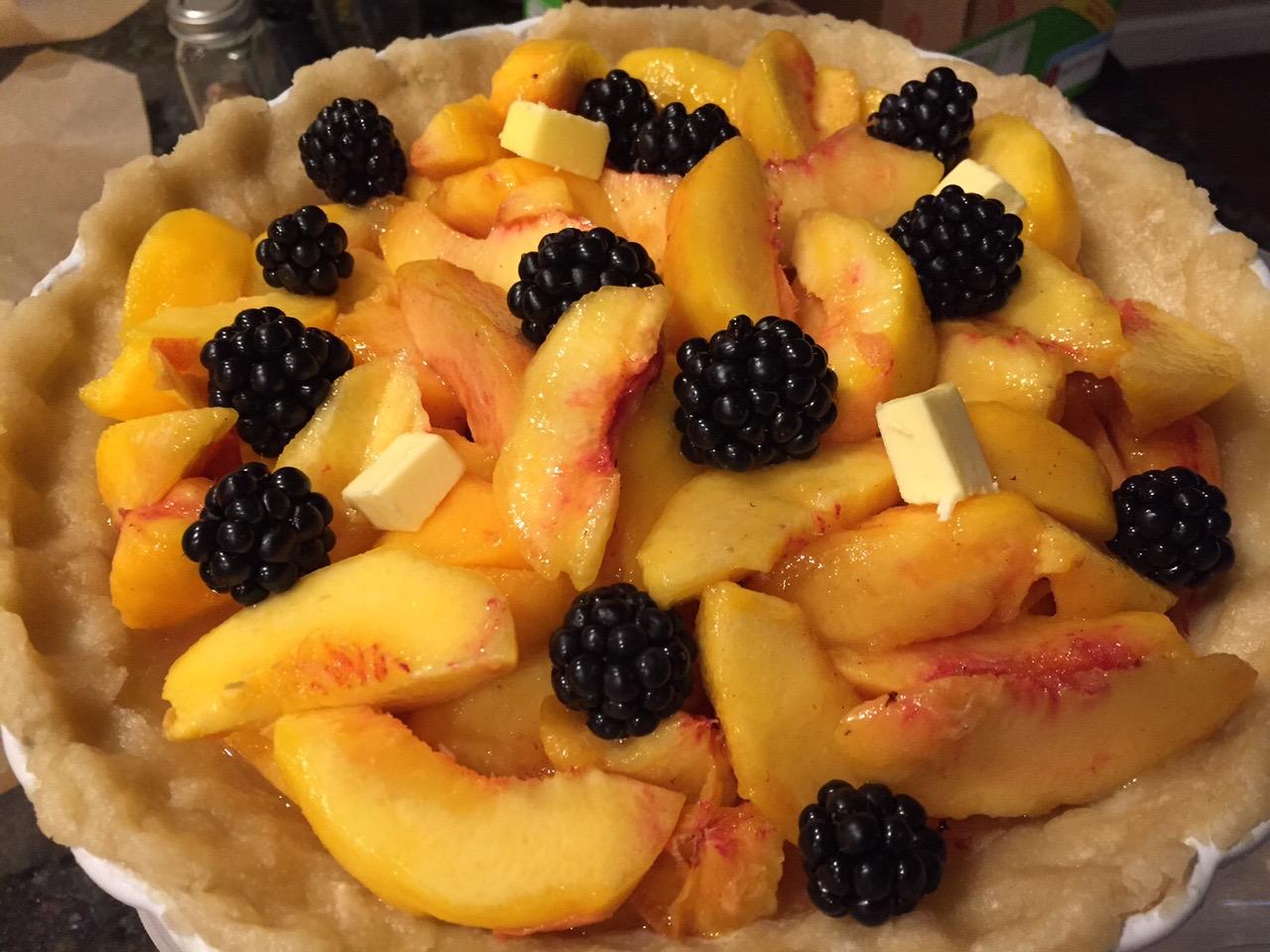peach and blackberry pie, pre-top crust