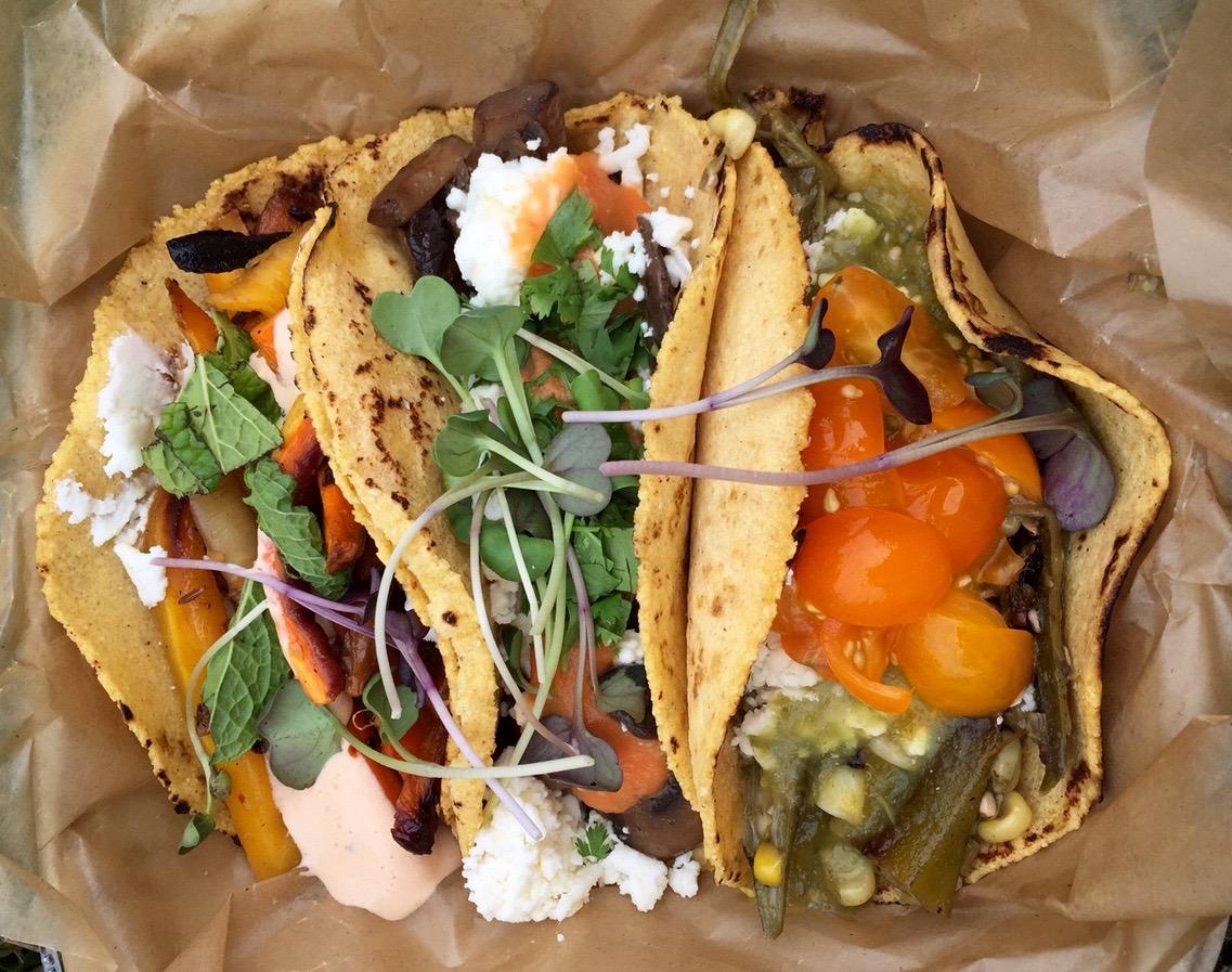 the market taco trio from Chaia: carrots, mushrooms, okra/corn