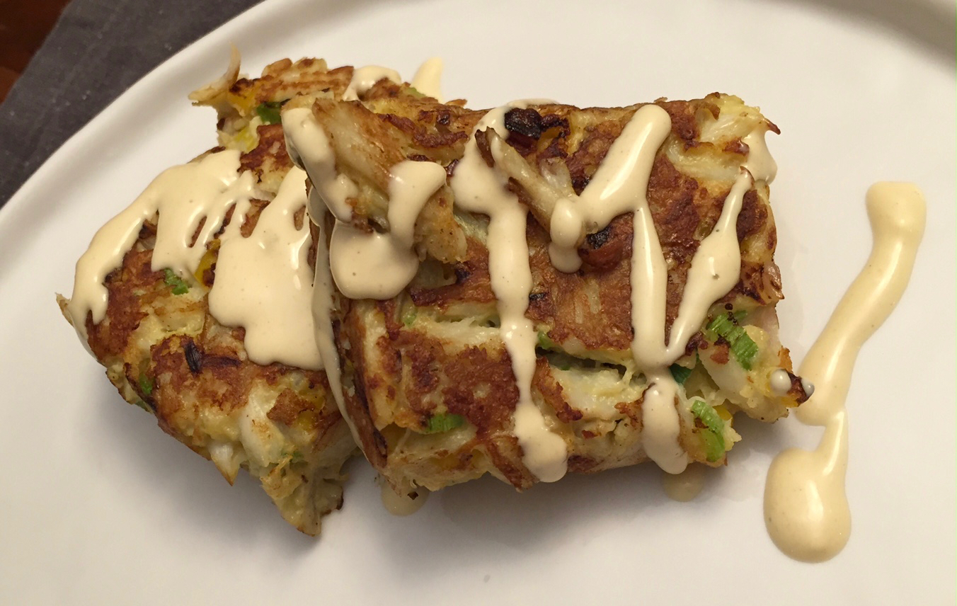 Oddly square crab cakes with mustard aioli