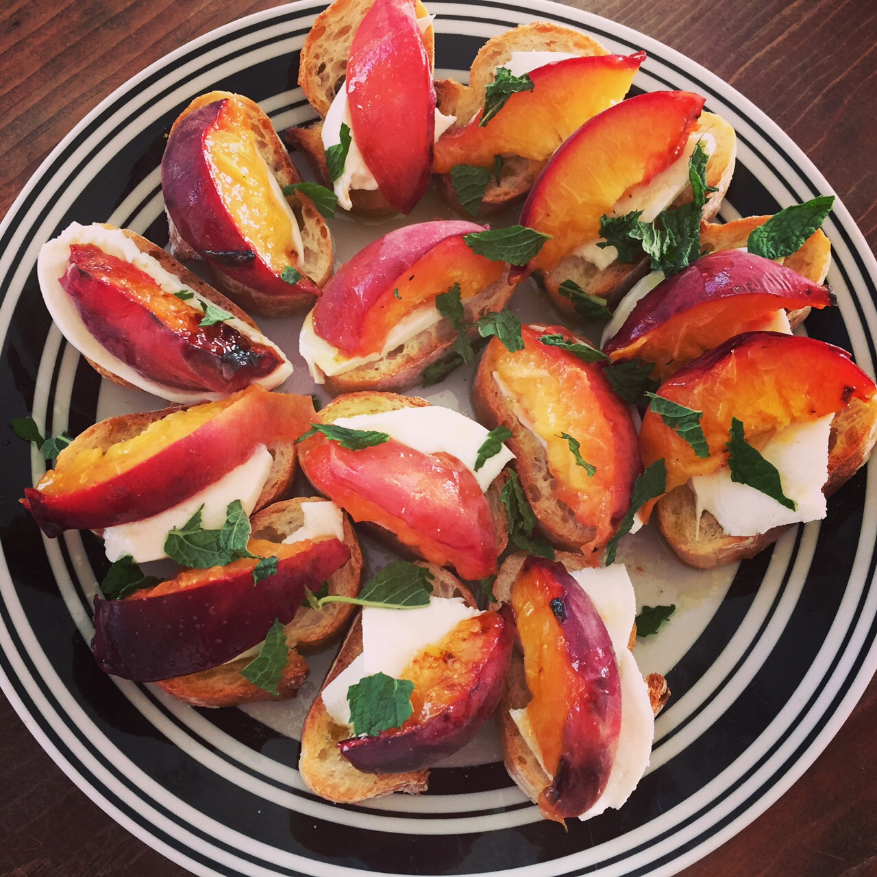 grilled peaches with burrata and mint