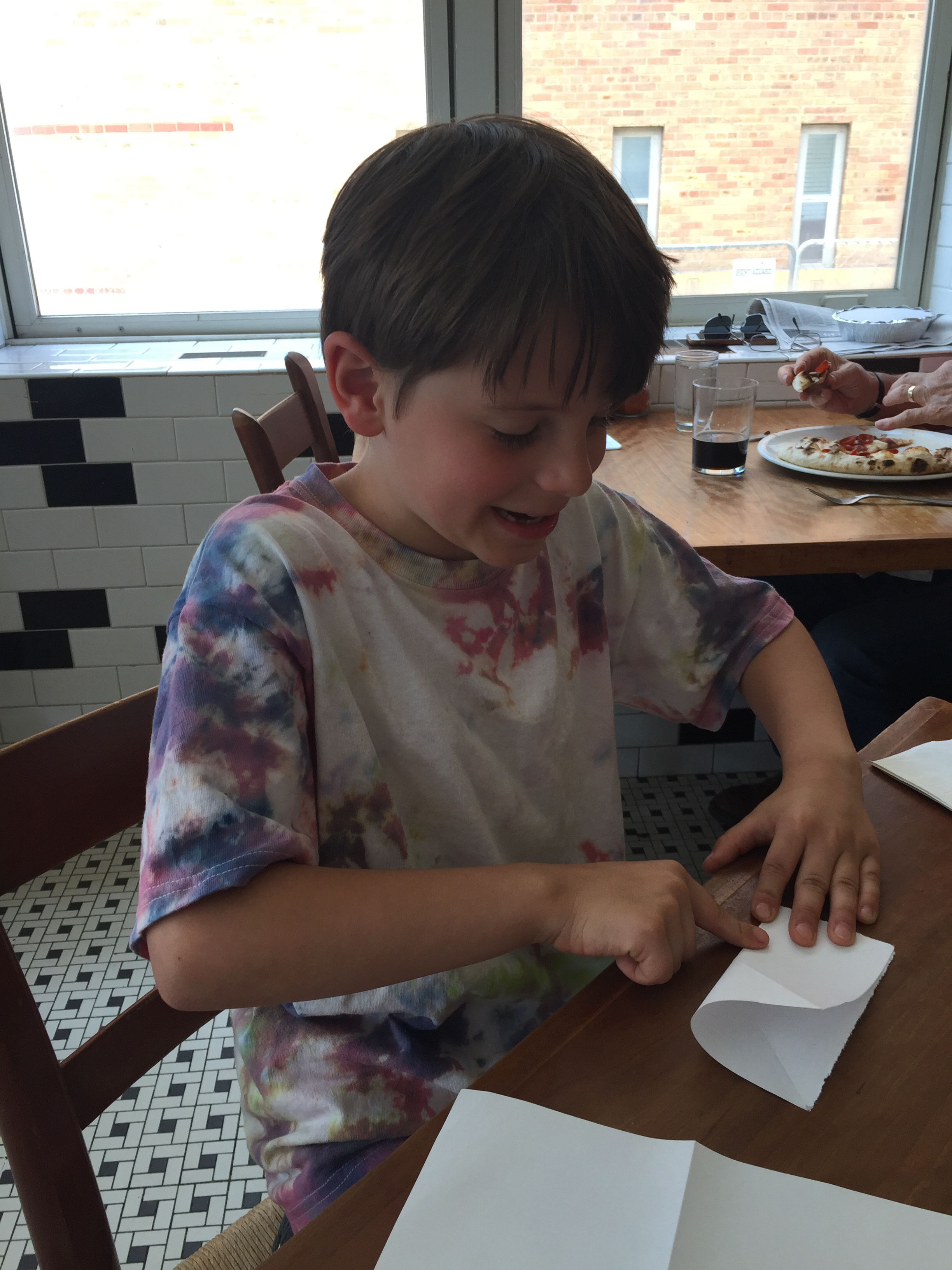 Ol and I went out to lunch on his last day of school. He loves to make origami cranes.