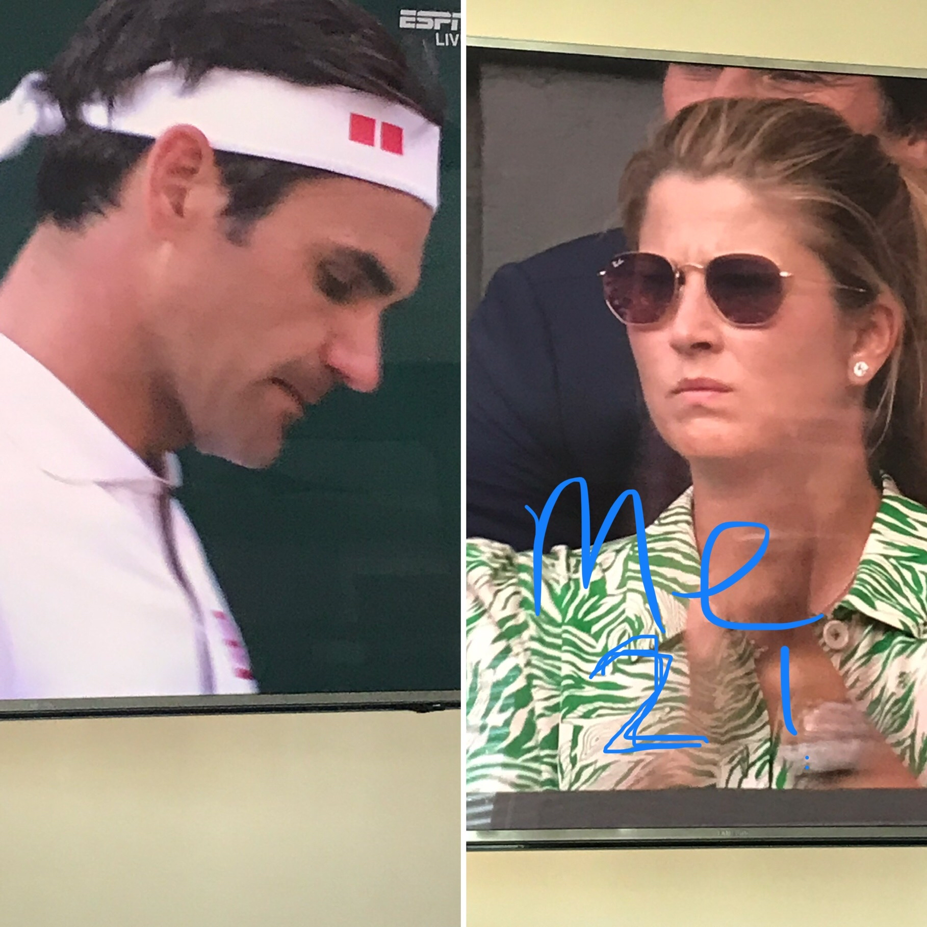 I actually made this during the match because Mirka, me too! I feel you! But, our man won.