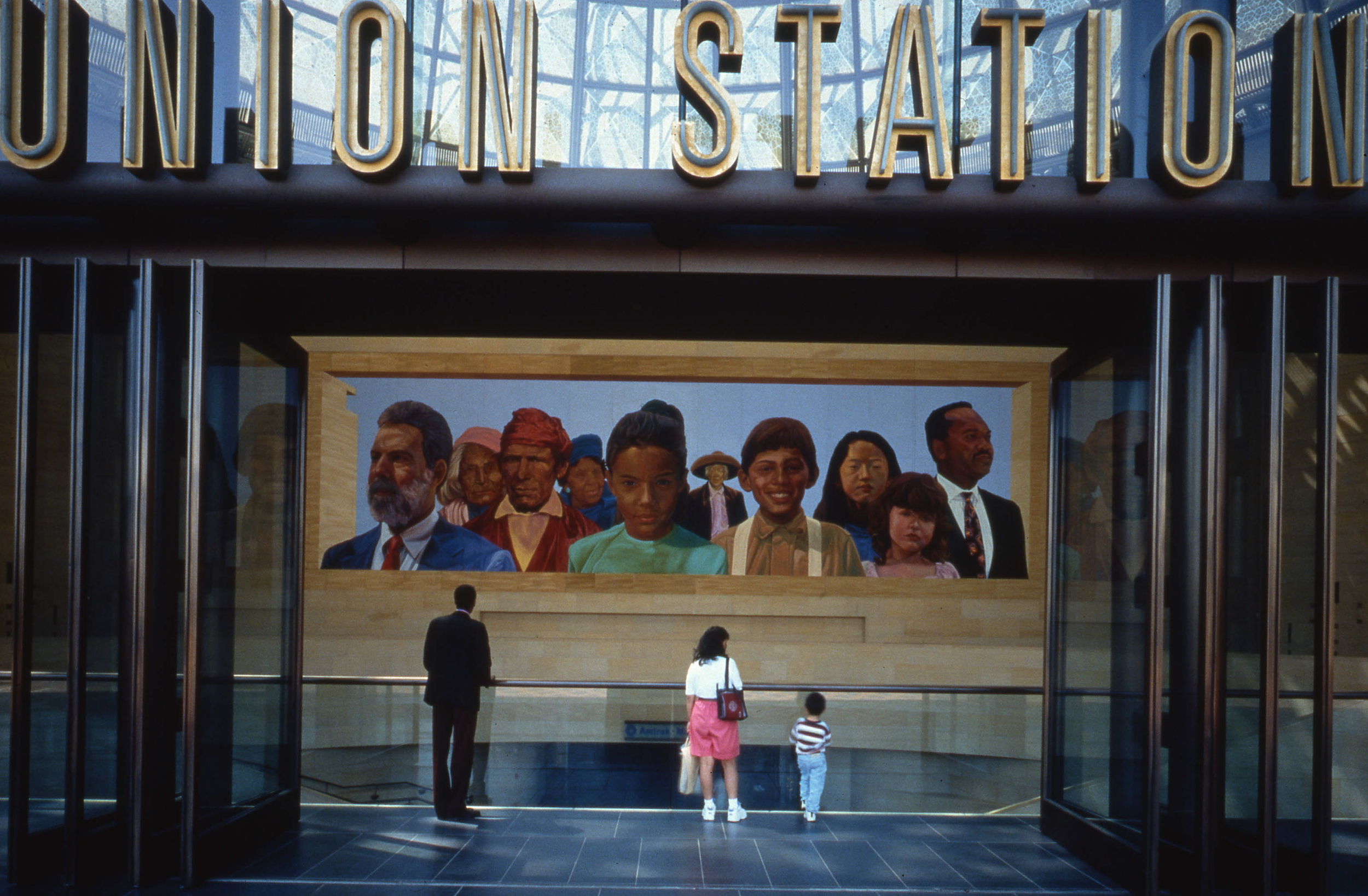 """""""City of Dreams/River of History"""", Mural    1996 Oil on honeycomb aluminum   22 x 78 feet"""