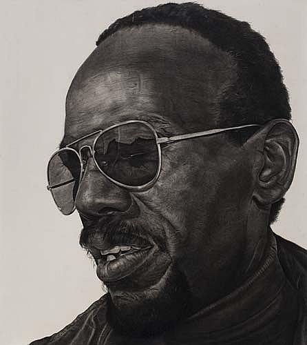 """Man Wearing Sunglasses""    1981 Pencil on wove paper   49 x 43 inches   © Richard Wyatt Jr."