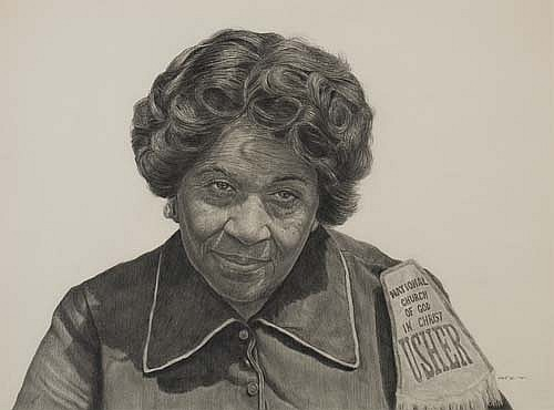 """Sister Wyatt""    1979 Pencil on wove paper   16 x 21 inches   © Richard Wyatt Jr."