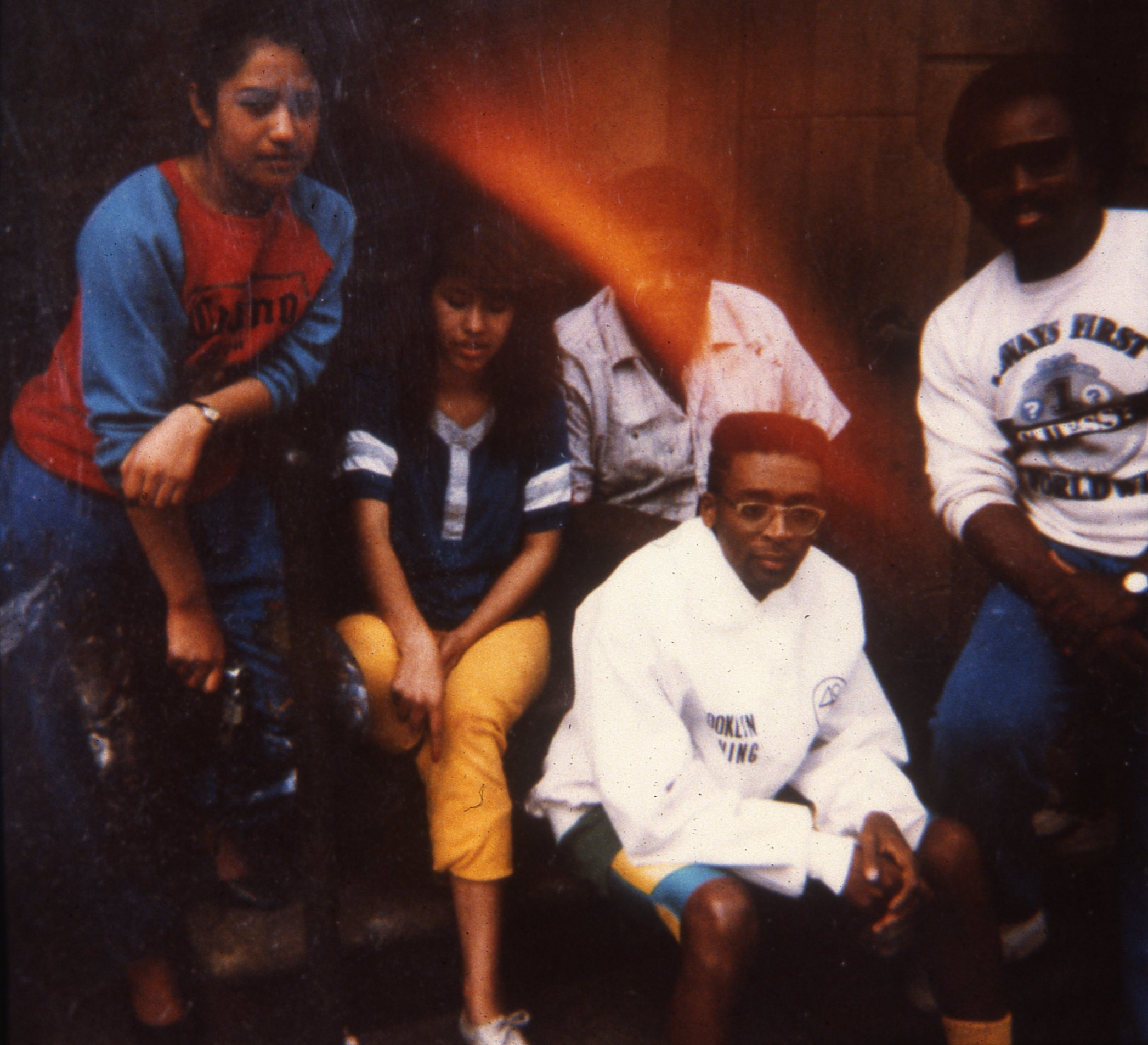 """Artist and artist apprentices with Spike Lee on the """"Do The Right Thing"""" film set    1988"""