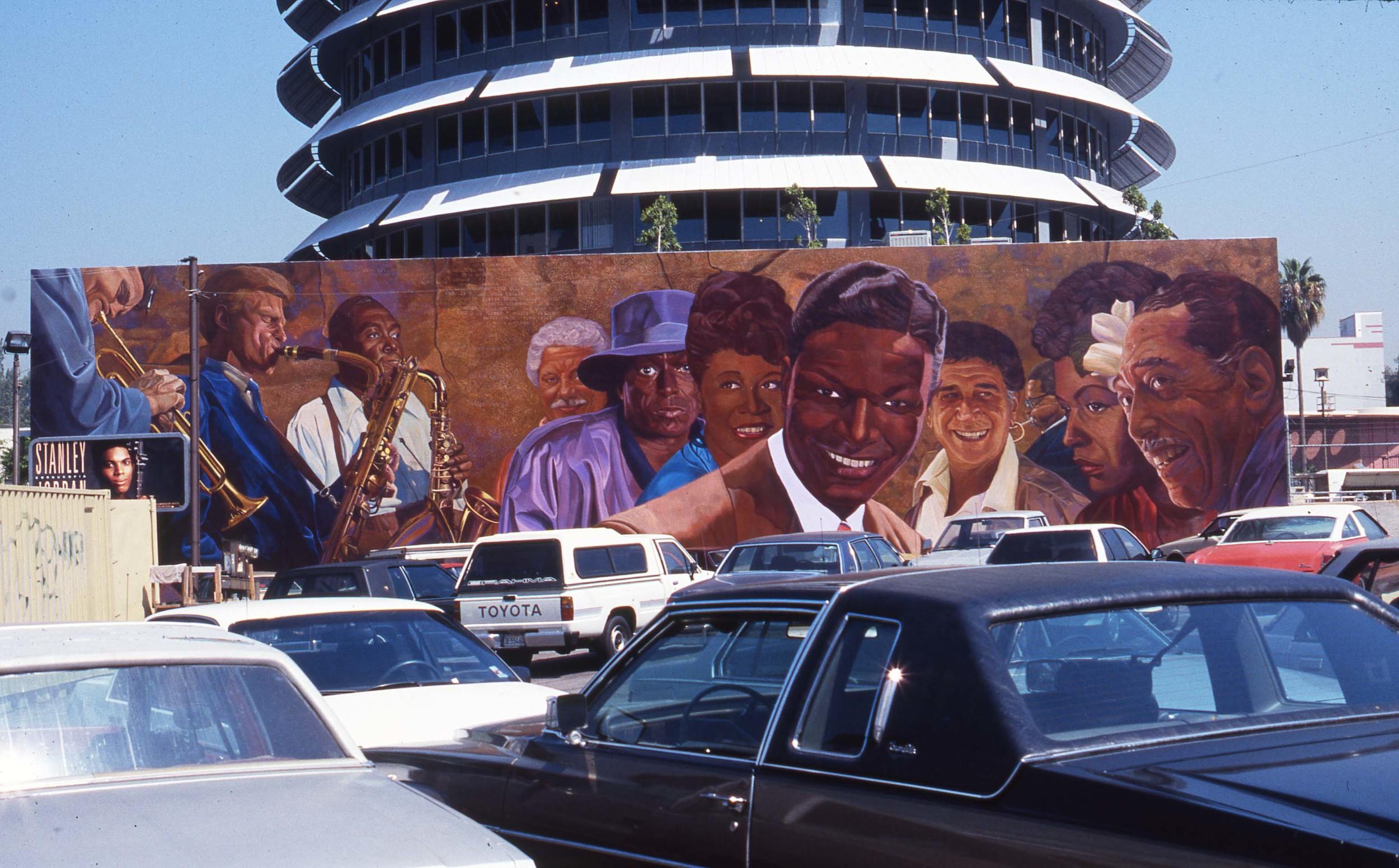 """Hollywood Jazz: 1945-1972""    1991 Acrylic on concrete   26x 88 feet   © Richard Wyatt Jr."