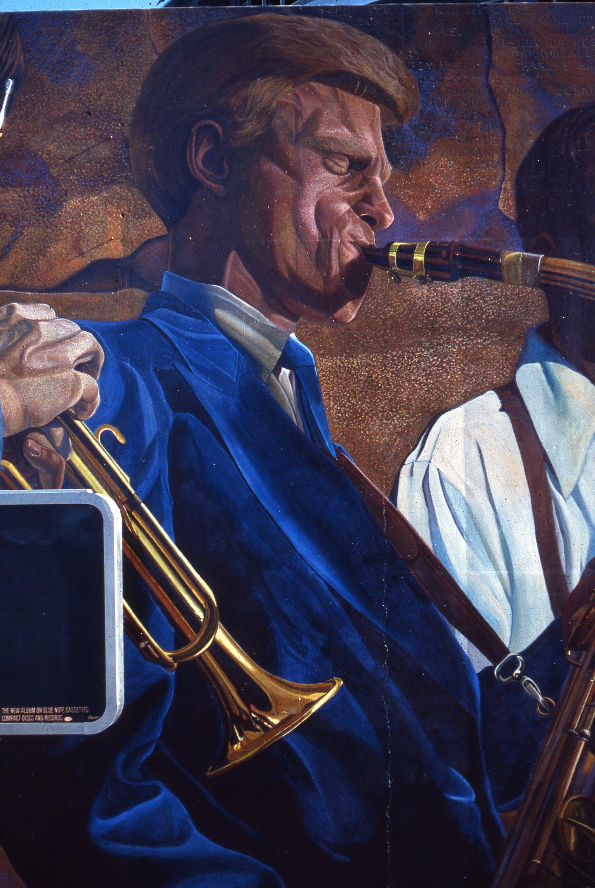 """Hollywood Jazz: 1945-1972"", Detail    1991 Acrylic on concrete   26x 88 feet   © Richard Wyatt Jr."