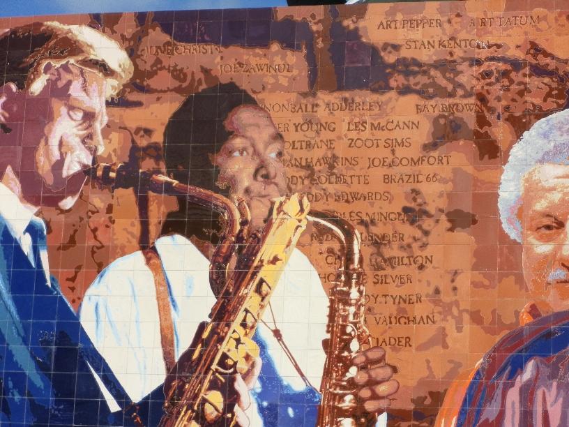 """""""Hollywood Jazz: 1945-1972Mural  Restoration  in Ceramic Tile"""", Detail    2012 Hand-glazed ceramic tile   26x 88 feet   © Richard Wyatt Jr."""