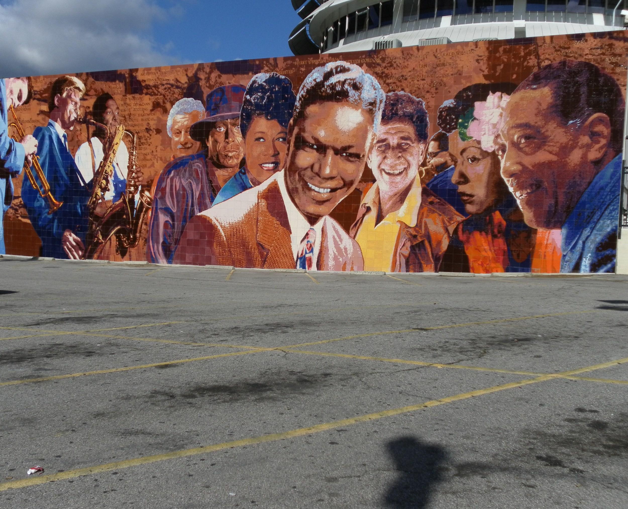 """Hollywood Jazz: 1945-1972Mural  Restoration  in Ceramic Tile""    2012 Hand-glazed ceramic tile   26x 88 feet   © Richard Wyatt Jr."