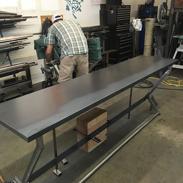 This beautiful custom bar and counter is just about wrapped.  #metalfab #architecturaldesign #architectural #sculpture #interiordesign