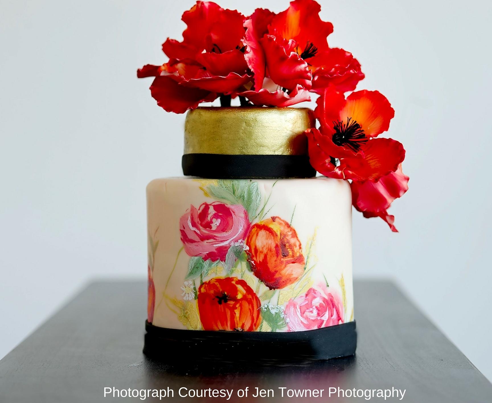 Painted Wedding Gold Wedding Cake