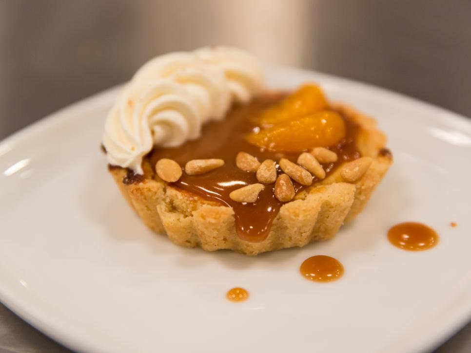 Mandarin Orange Honey Caramel Nut Tart by Jennifer Barney.  Photograph taken by Zack Smith and courtesy of Food Network.