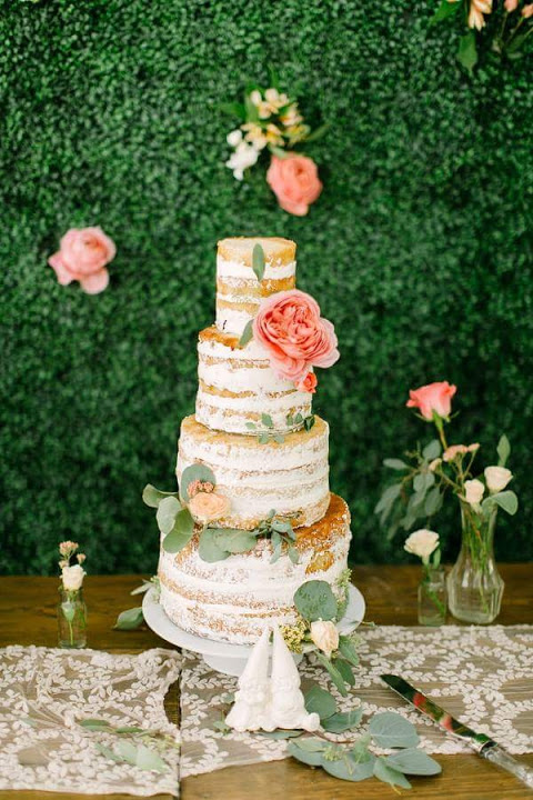 Unfrosted Cake with Fresh Flowers