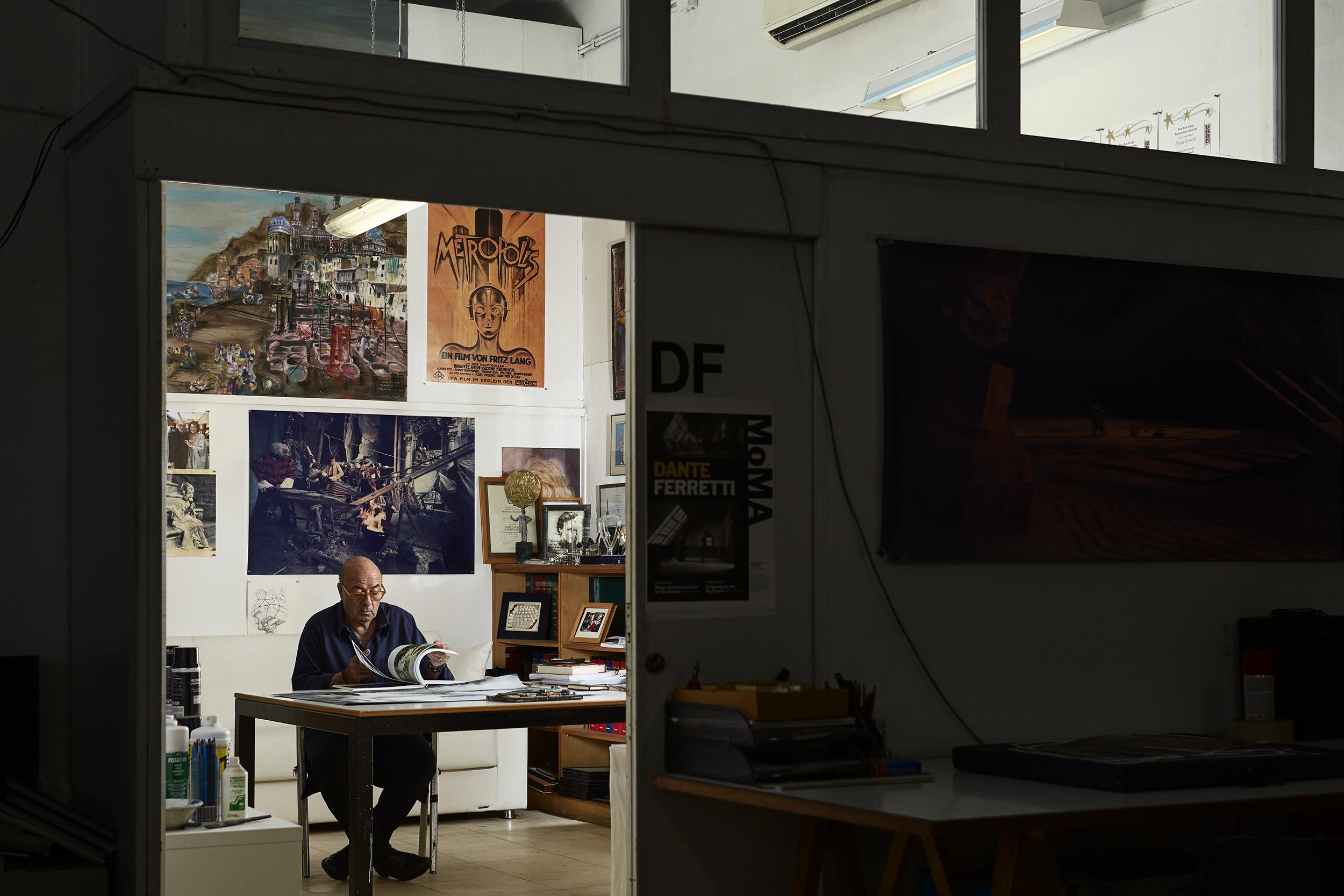 Dante Ferretti in his studio on the lot of Cinecittà Studios, located in Rome. For the New York Times Style Magazine