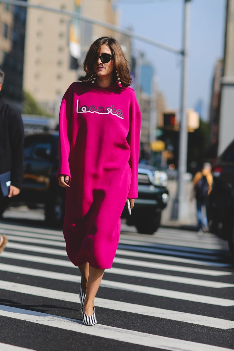 Good news,shapeless & oversized no longer translate to just rolling out of bed. When paired with a statement shoe and polished accessories, it's loungewear turned streetwear. The silhouette of this sweatshirt dress is anything but sloppy, and can you imagine how comfortable it is?