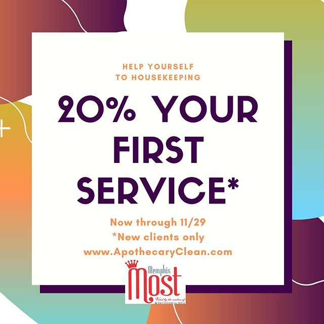 Have you ever wanted to try a housekeeping service? Now is a great time to try us out! We're offering 20% off your first service (new clients only) until 11/29/19. You may book online (price listed will be discounted at time of service) or through our office via phone or email. Spaces are limited. . . . #housekeeping #memphis #memphistn #ilovememphis #choose901 #cleaning #cleanhome #naturalcleaning #memphismost #ecofriendly