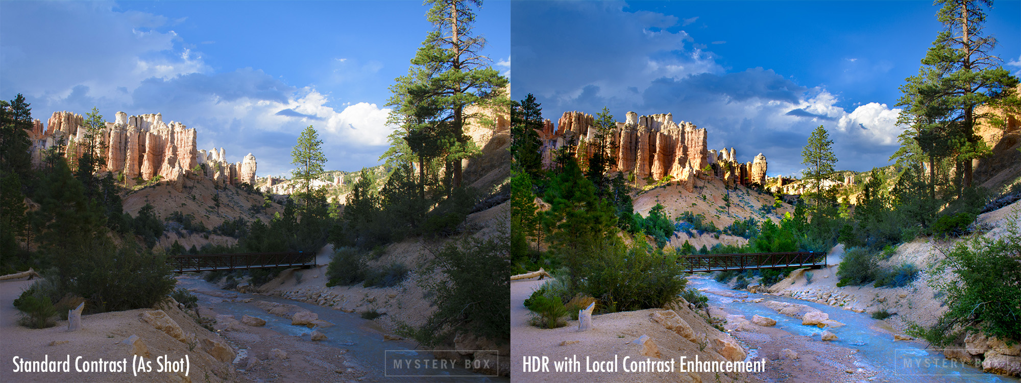 Photograph with standard contrast vs. the same with local contrast