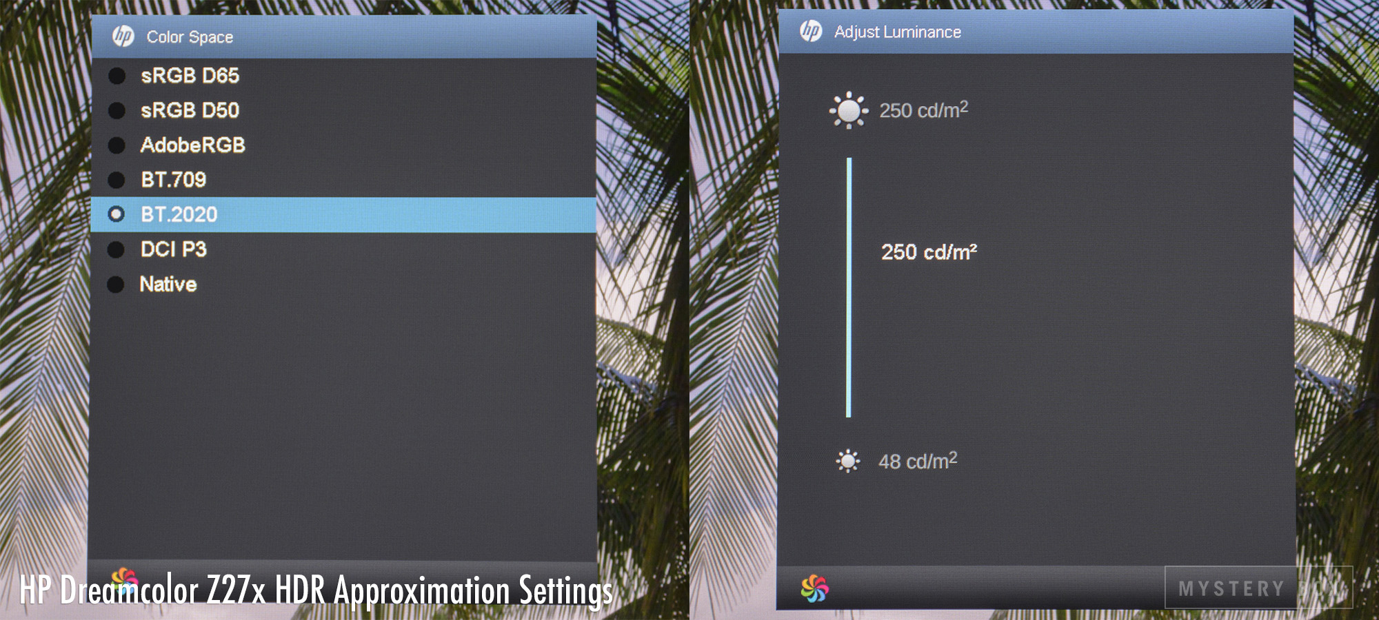 HP Dreamcolor Z27x HDR Approximation Settings