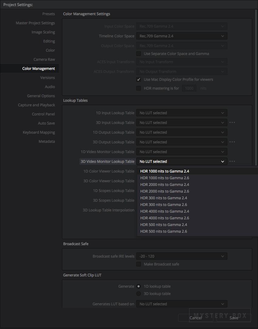 DaVinci Resolve Studio's LUTs for scaling HDR into Gamma 2.4 / Gamma 2.6