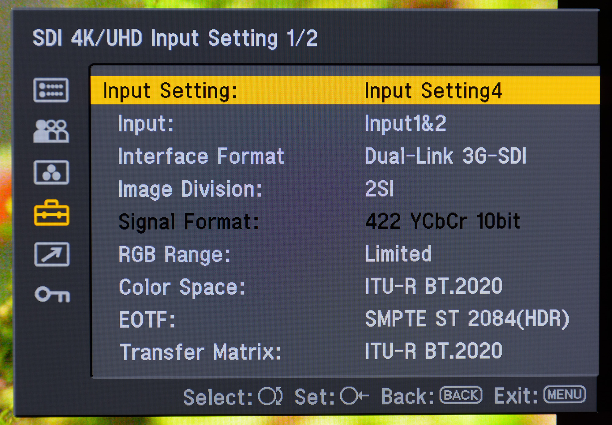 Settings for enabling SMPTE ST.2084 HDR on the Sony BVM-X300