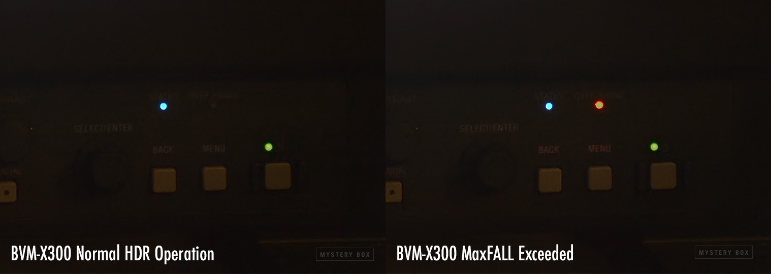 BVM-X300 Over Range Indicator showing MaxFALL Exceeded