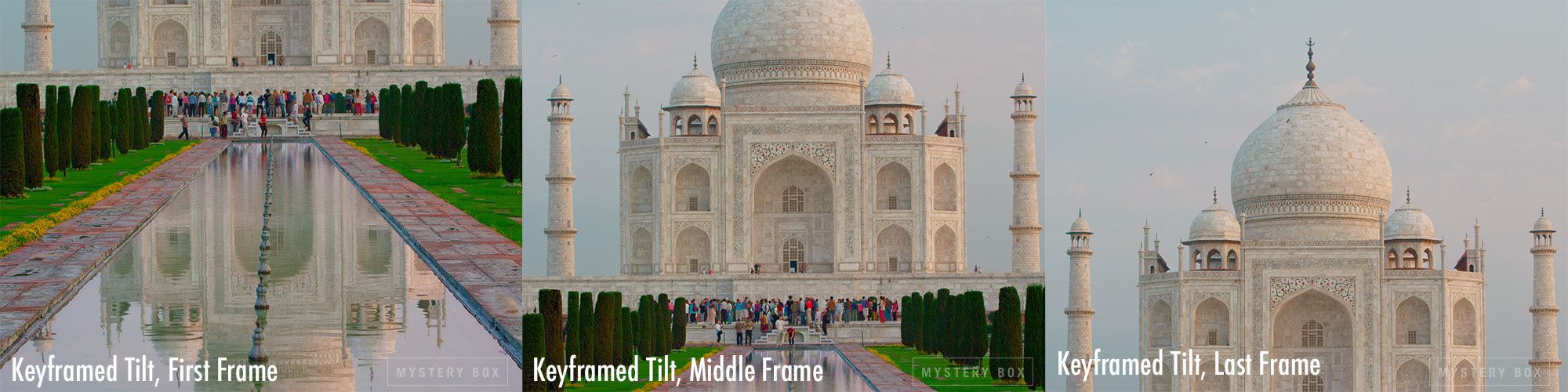 Tilt-up Shot of Taj Mahal where brightness keyframes were required to limit MaxFALL. In an ideal world, no keyframes would have been necessary and the final frame would have been much brighter (as shot) than the first.
