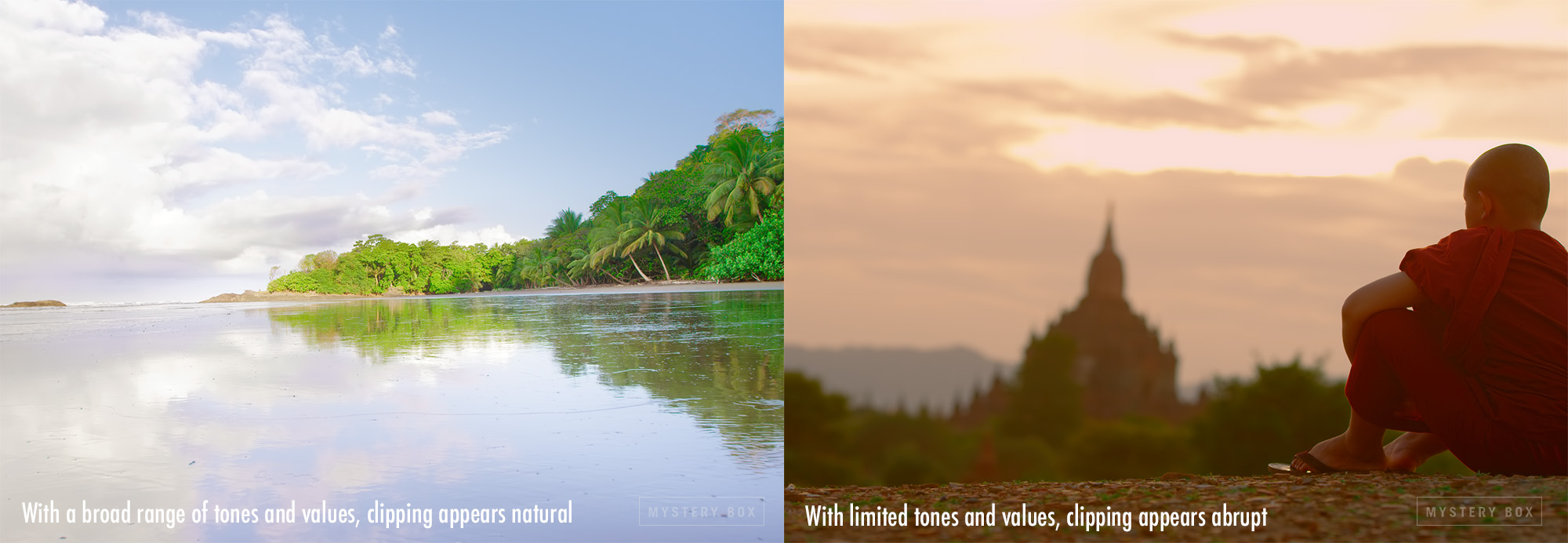 Clipping in an image with wide range of values and tones vs clipping in image with limited range of values and tones