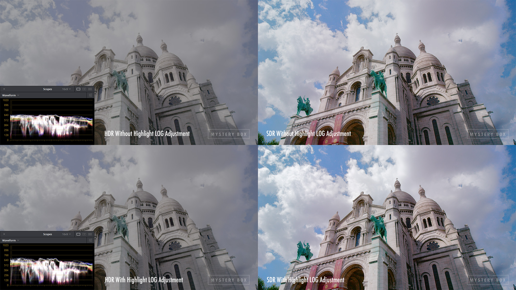 Effect of LOG Adjustments on an HDR Image with Waveform. Notice the extended details in the clouds.