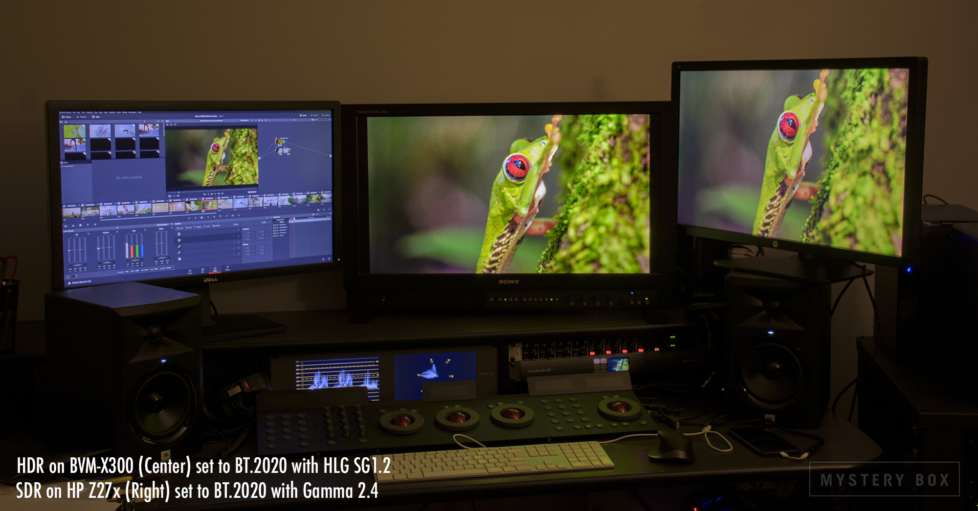 Grading HLG with two reference displays - one in HDR, one in SDR, to ensure the best possible contrast in both.
