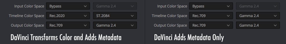 DaVinci Resolve Studio Color Management Settings for transforming color and adding metadata, and adding metadata only.