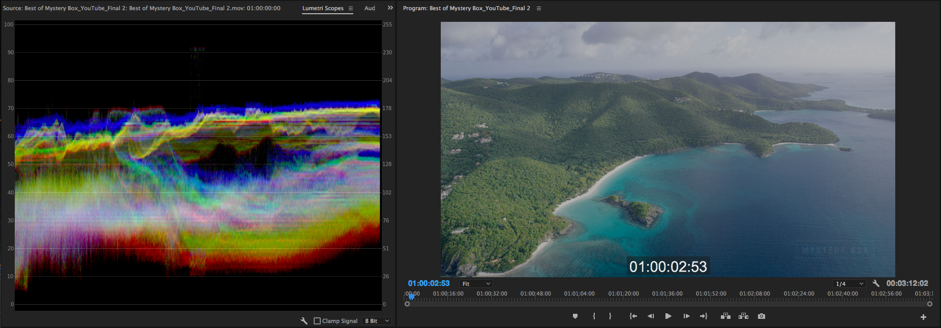 12 Bit ProRes 4444 HDR Intermediate in Timeline with 8 Bit Scope showing proper range of values