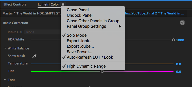 How to enable HDR Grading in Premiere 2017