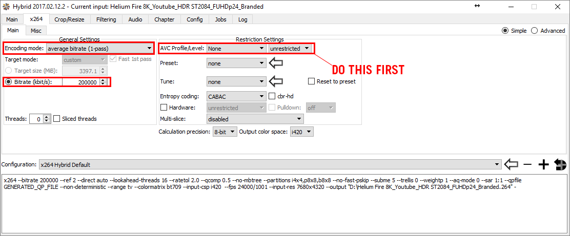 Set the Profile and Level to None/Unrestricted to encode high bitrate 8K video