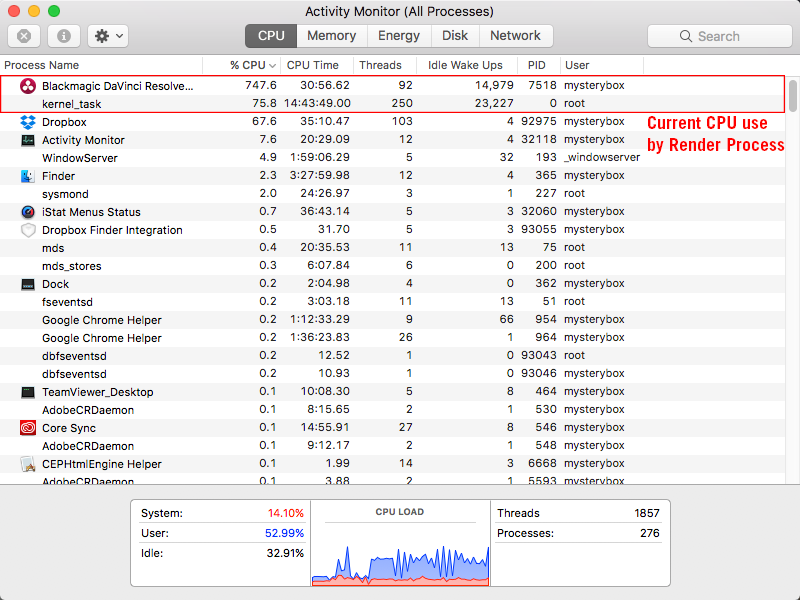 Activity Monitor showing CPU use under Load.