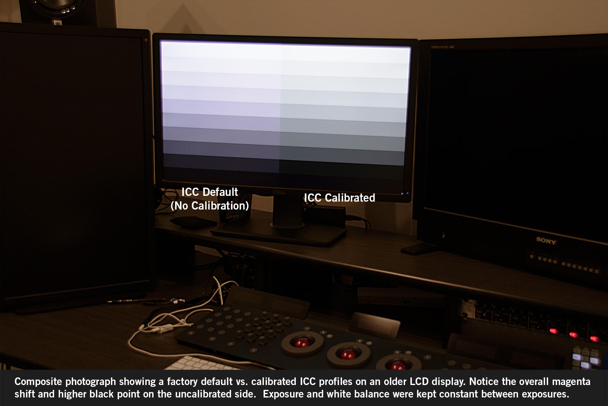 Factory Default ICC vs Calibrated ICC Composite Image