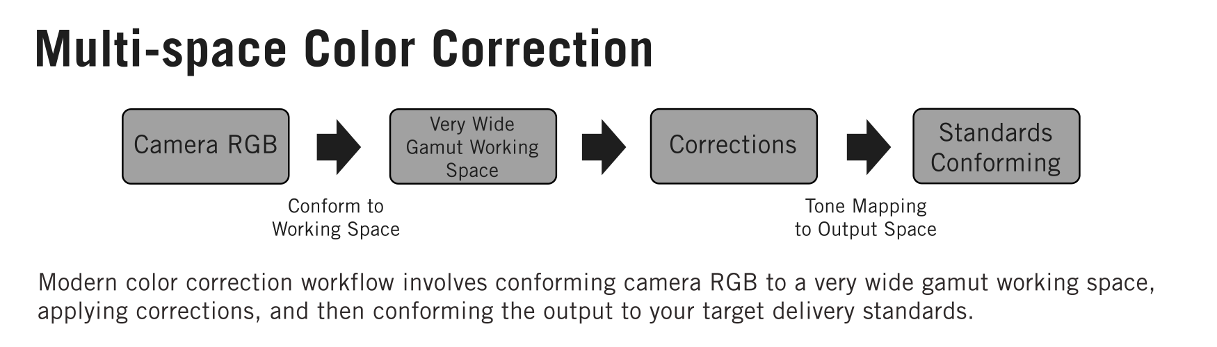 Modern Multi-space Color Correction using Wide Color Gamuts block diagram