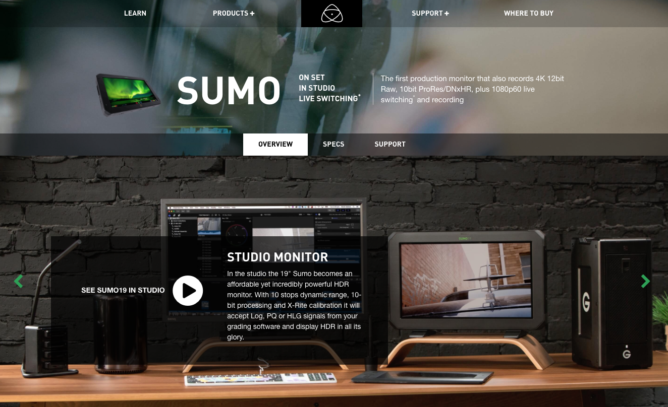 Screenshot of Copy Re: Using the Sumo in a Studio on Atomos' website.