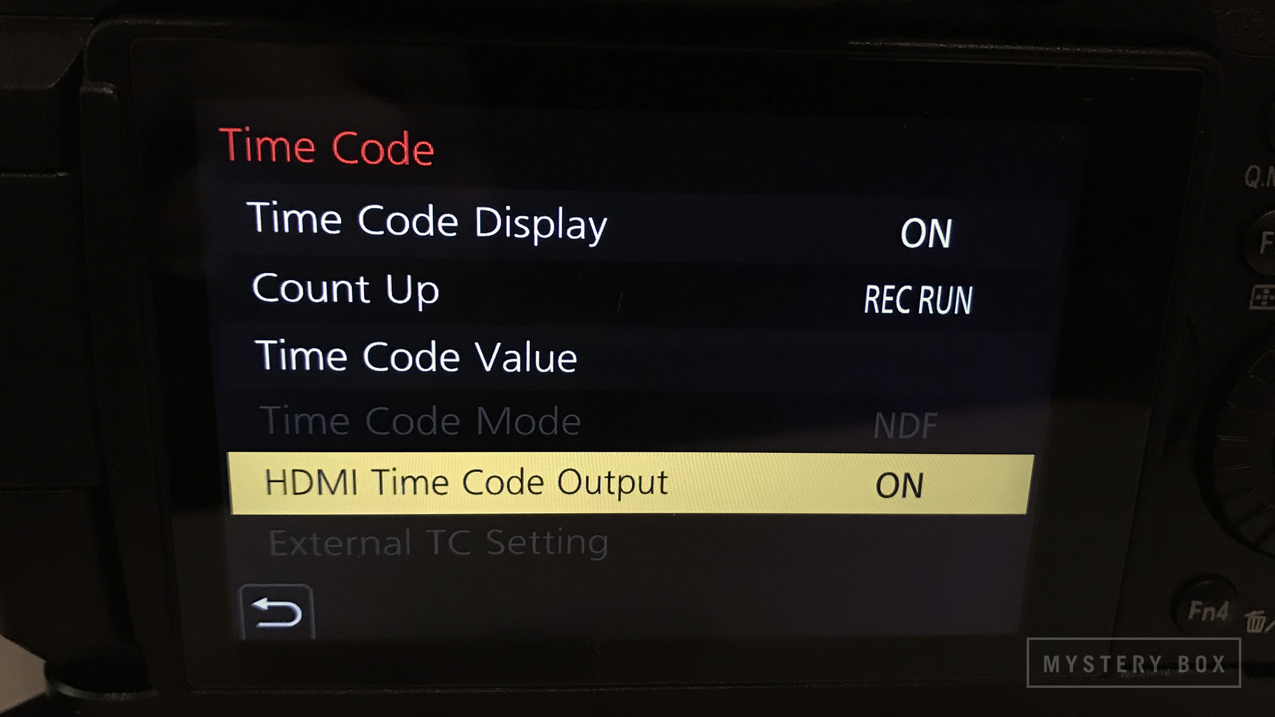 - Turn on HDMI Time Code Output so the Shogun/Ninja Inferno can match and record timecode (Menu -> Motion Picture -> HDMI Time Code Output):