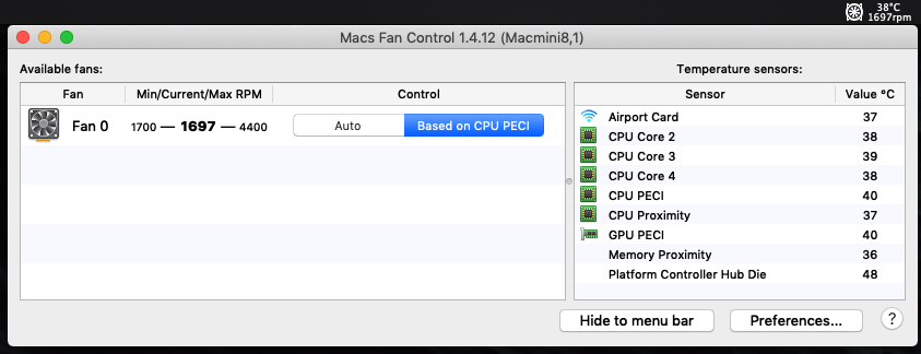 Mac Fan Control interface showing the minimum and maximum speeds of the internal fan: 1700-4400rpm. Also includes convenient temperature readouts of CPU, GPU, and other heat-producing components.