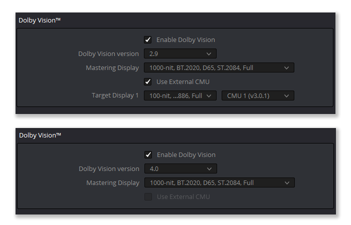 Enabling Dolby Vision in DaVinci Resolve 15, using the eCMU for Dolby Vision 2.9, and the iCMU for Dolby Vision 4.0