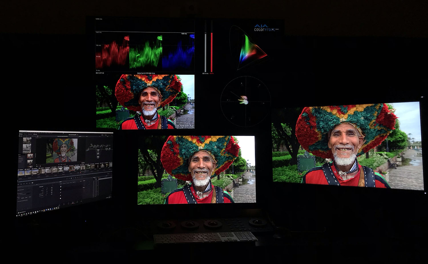 Setup showing Dolby Vision using the iCMU in 4K, with a 4Kp30 HDR image sent to both the Sony BVM-X300 and the Dolby eCMU. The resulting image is shown on the BenQ Rec 709 display.