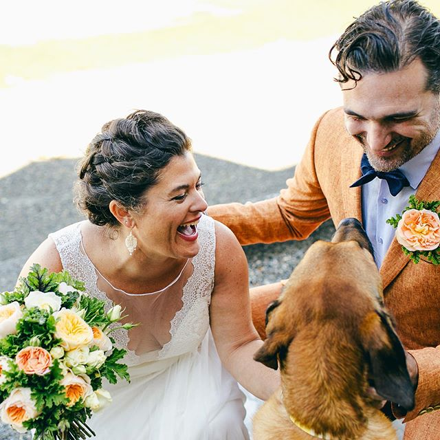 Happy anniversary to these lovebirds! I can't believe it's been four years. I think of your wedding whenever I think of marigolds, cute dogs, and the most delicious pizza. ✨🌼🍕 . . . #kristawelchweddings #whidbeyisland #whidbeyislandwedding #farmwedding