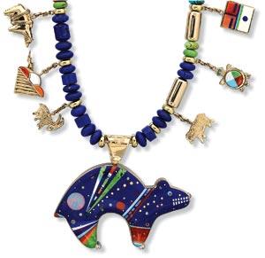 BEAR NECKLACE by Jesse Monongye of turquoise, coral, opal, lapis lazuli, dolomite, gaspeite, jet, shell, diamond, and eighteen karat gold; 2004.