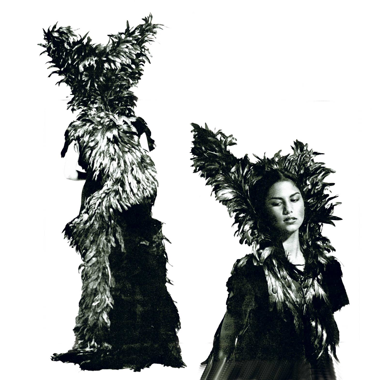 BRUJA DE PLATA, a collaboration by Nicki Marx and Ben Compton of vicuna, rooster feathers, metallic fabric, sheared sheep skin, woven fiber strap with metal hardware, leather, 1976. Photograph by Robert Mertens.