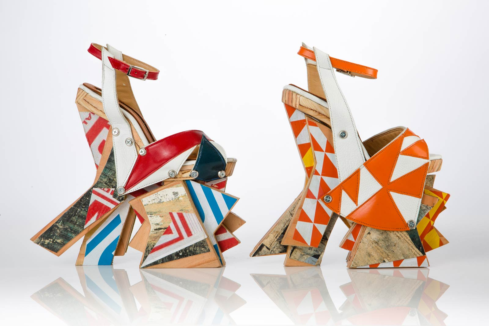 LAMINATE HEELS of leather, found plywood, paper, canvas, rubber, screws, washers, 2015.  Photographs by Noel Bass except where noted; courtesy of Craft & Folk Art Museum.