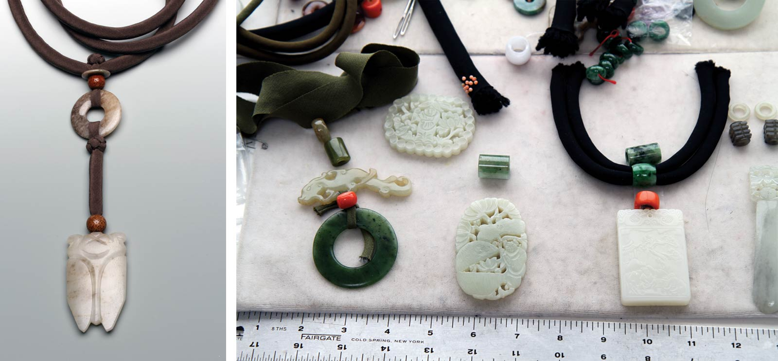 PAT TSENG NECKLACE PENDANT of small jade disk, larger  bi  and jade cicada, with two beads made from seeds, assembled with dyed silk-wrapped cords and hand-tied Chinese knots; length of pendant to end of knot is 14.0 centimeters. Right-hand image shows three necklaces in process of being designed, of silk, jade and coral components (all usually antique).  Photographs by Robert K. Liu/Ornament.