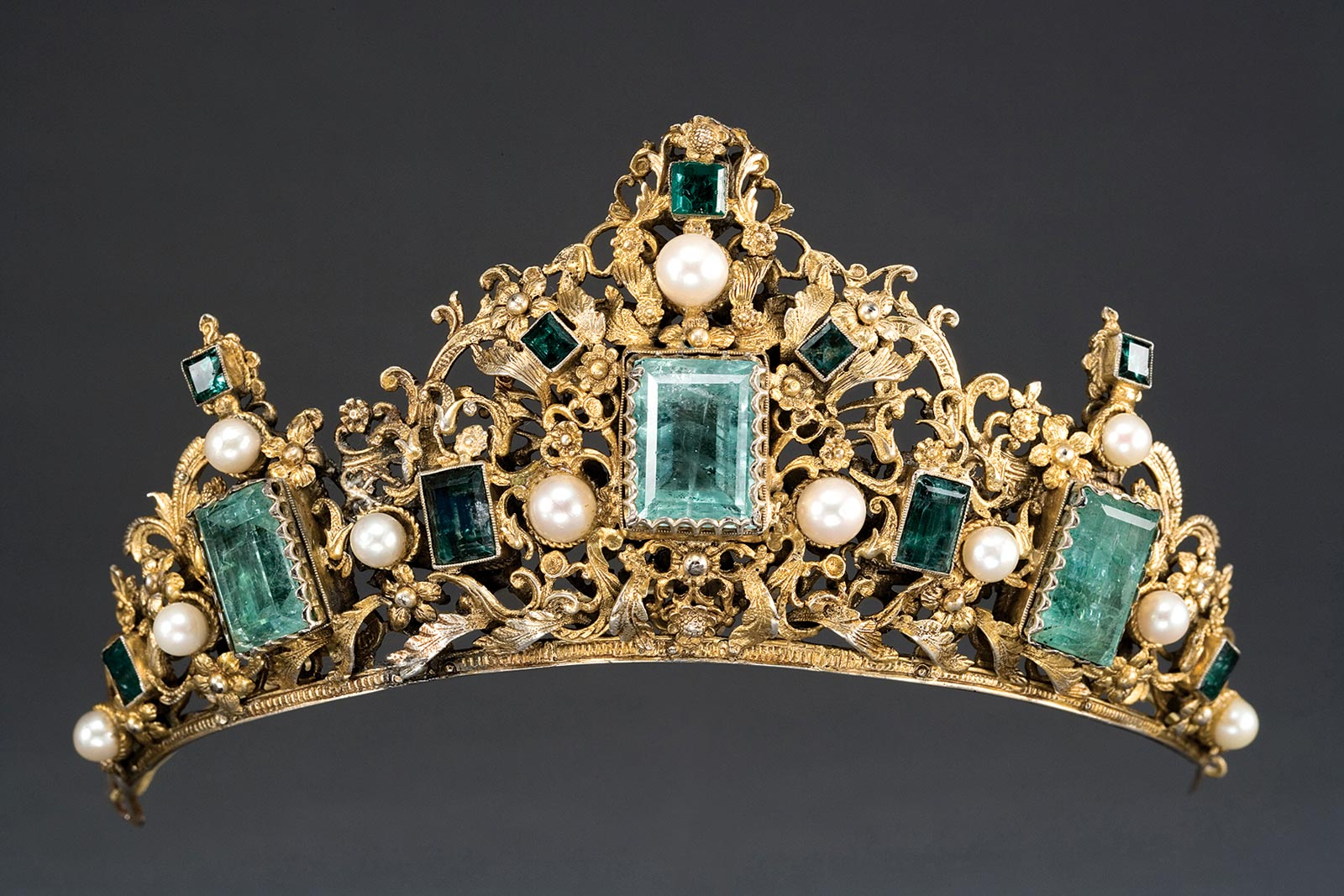 TIARA of gilt silver, emeralds, pearls, Colombia or Ecuador, circa 1690.